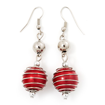 Silver Tone Bright Red  Faux Pearl Drop Earrings - 5.5cm Drop - main view