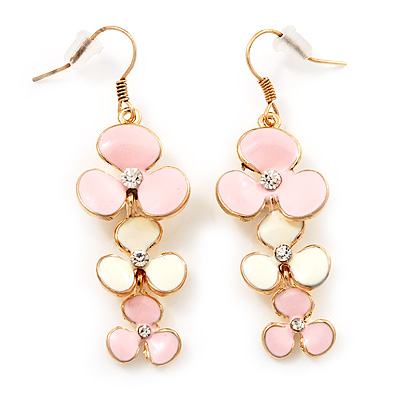 Delicate Triple Flower Pink/Snow White Enamel Drop Earrings (Gold Plated Metal) - 5.5cm Length