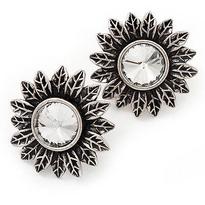 Burn Silver 'Sunflower' Diamante Stud Earrings - 3cm Diameter - main view