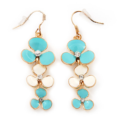 Delicate Triple Flower Cyan/Snow White Enamel Drop Earrings (Gold Plated Metal) - 5.5cm Length