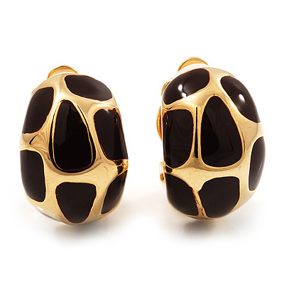 Small C-Shape Brown Enamel Clip On Earrings In Gold Plated Metal - 18mm Length