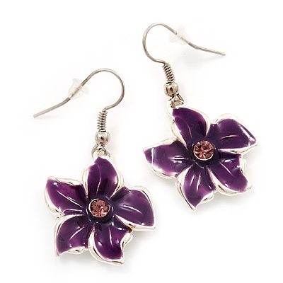 Purple Enamel Daisy Drop Earrings (Silver Tone Metal) - 4cm Length