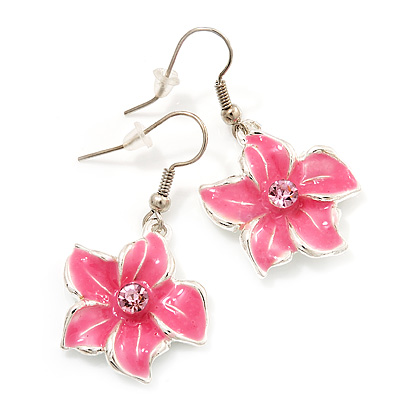 Pink Enamel Daisy Drop Earrings (Silver Tone Metal) - 4cm Length