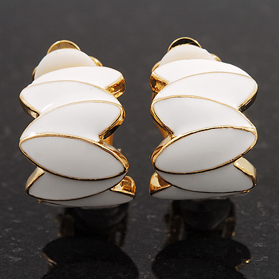 Small C-Shape White Enamel Clip On Earring In Gold Plated Metal