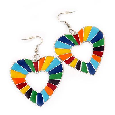 Heart Multicoloured Enamel Hoop Drop Earrings (Silver Tone Metal) - 6.5cm Length