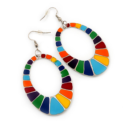 Oval Multicoloured Enamel Hoop Drop Earrings (Silver Tone Metal) - 7.5cm Length