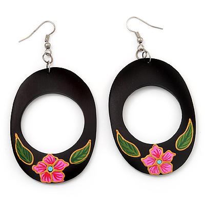 Dark Brown Wood Oval Hoop With Pink Flower Earrings (Silver Tone Metal) - 8cm Drop