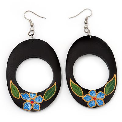 Dark Brown Wood Oval Hoop With Blue Flower Earrings (Silver Tone Metal) - 8cm Drop