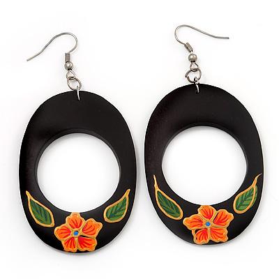 Dark Brown Wood Oval Hoop With Orange Flower Earrings (Silver Tone Metal) - 8cm Drop