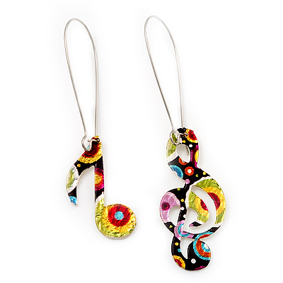 Multicoloured 'Musical Notes' Drop Earrings (Silver Tone Metal) - 7cm Length - main view