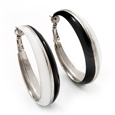 Black &amp; White Enamel Hoop Drop Earrings (Silver Plated Metal) - 4.5cm Diameter
