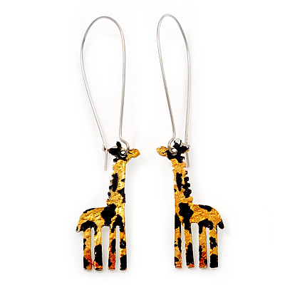 Funky Giraffe Drop Earring In Rhodium Plated Metal - 6cm Length - main view