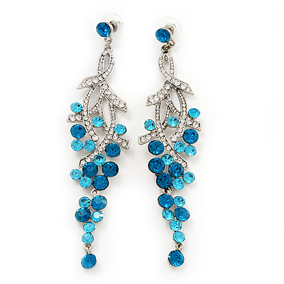 Light blue chandelier earrings avalaya long swarovski turquoise crystal chandelier earrings silver plated metal 115cm drop mozeypictures Images