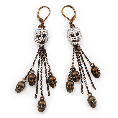 Bronze Tone Diamante Skull Dangle Earrings - 8.5cm Drop