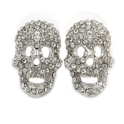 Small Dazzling Crystal Skull Stud Earrings In Silver Plating - 2cm Length - main view