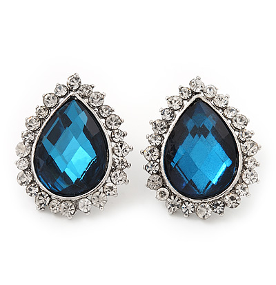 Sky Blue Crystal Teardrop Stud Earrings In Silver Tone Metal - 2.5cm Length - main view