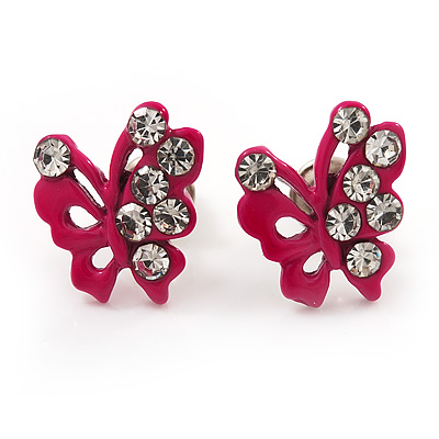 Tiny Deep Pink Crystal Enamel 'Butterfly' Stud Earrings In Silver Tone Metal - 10mm Diameter