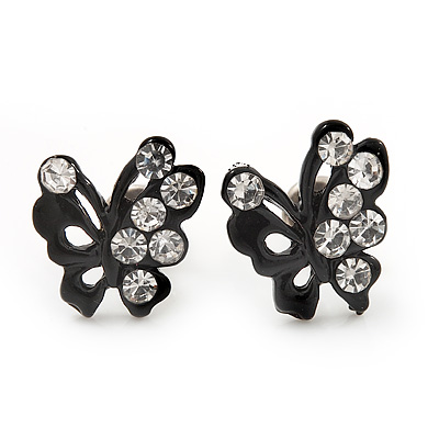 Tiny Black Crystal Enamel &#039;Butterfly&#039; Stud Earrings In Silver Tone Metal - 10mm Diameter