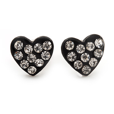 Tiny Black Crystal Enamel &#039;Heart&#039; Stud Earrings In Silver Plated Metal - 10mm Diameter