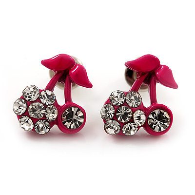 Tiny Deep Pink Enamel Diamante Sweet 'Cherry' Stud Earrings In Silver Tone Metal - 10mm Diameter