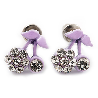 Tiny Lavender Enamel Diamante Sweet 'Cherry' Stud Earrings In Silver Tone Metal - 10mm Diameter - main view