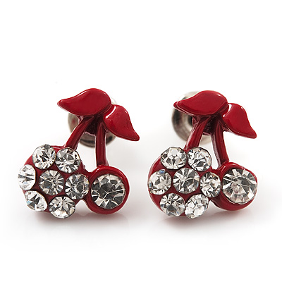 Tiny Red Enamel Diamante Sweet &#039;Cherry&#039; Stud Earrings In Silver Tone Metal - 10mm Diameter