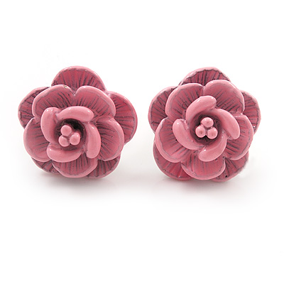 Tiny Light Pink 'Rose' Stud Earrings In Silver Tone Metal - 10mm Diameter