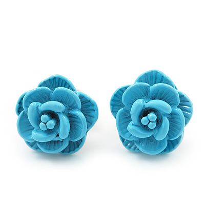 Tiny Light Blue 'Rose' Stud Earrings In Silver Tone Metal - 10mm Diameter