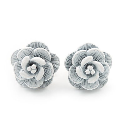 Tiny White &#039;Rose&#039; Stud Earrings In Silver Tone Metal - 10mm Diameter