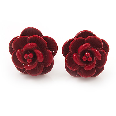 Tiny Red 'Rose' Stud Earrings In Silver Tone Metal - 10mm Diameter - main view