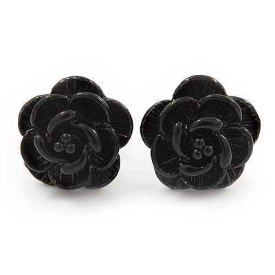 Tiny Black &#039;Rose&#039; Stud Earrings In Silver Tone Metal - 10mm Diameter