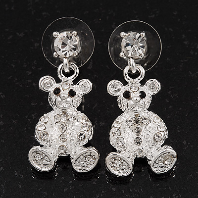 Silver Plated Crystal Cute 'Bear' Stud Drop Earrings - 3cm Length