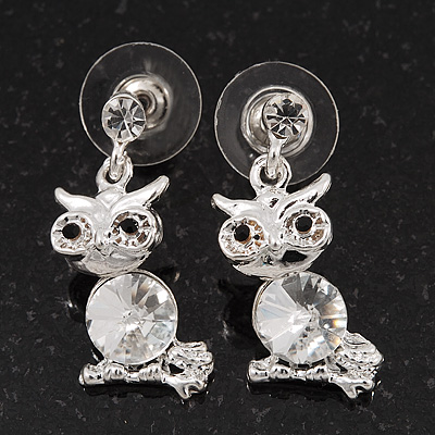 Small Clear Crystal Cute 'Owl' Stud Drop Earrings In Rhodium Plated Metal - 3cm Length - main view