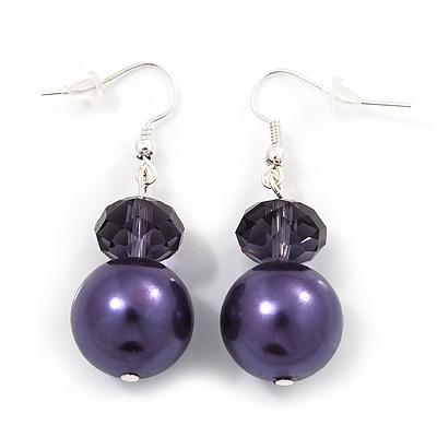 Purple Bead Drop Earrings In Silver Plated Metal - 4.5cm Length