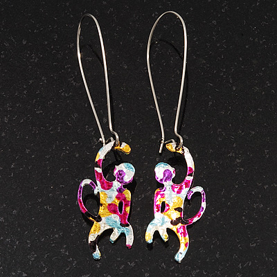 Funky Multicoloured Enamel &#039;Monkey&#039; Drop Earring In Silver Tone Metal - 6cm Length