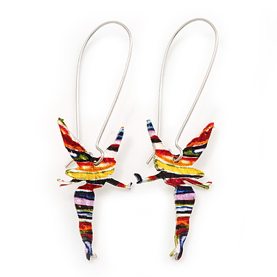 Cute Multicoloured Enamel 'Fairy' Drop Earrings In Rhodium Plated Metal - 6cm Length