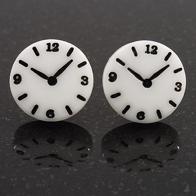 Funky Black/White Acrylic 'Clock' Stud Earrings - 17mm Diameter - main view