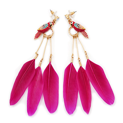 Funky Long Magenta &#039;Parrot&#039; Feather Earrings In Gold Plating - 13cm Length