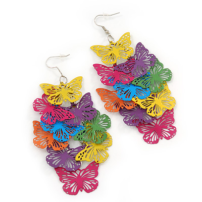 Long Multicoloured Enamel &#039;Butterfly&#039; Drop Earrings - 9cm Length