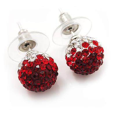 Ruby Red/Bright Red/Clear Swarovski Crystal Ball Stud Earrings In Silver Plated Finish -10mm Diameter