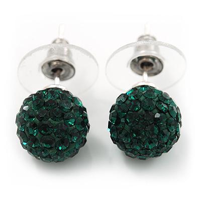 Emerald Green Swarovski Crystal Ball Stud Earrings In Silver Plated Finish - 9mm Diameter