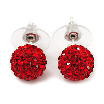 Red Swarovski Crystal Ball Stud Earrings In Silver Plated Finish - 9mm Diameter