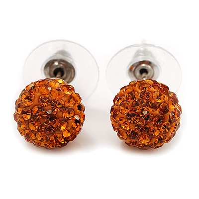 Orange Swarovski Crystal Ball Stud Earrings In Silver Plated Finish - 9mm Diameter - main view