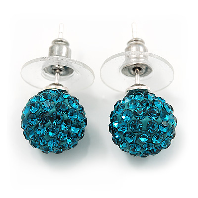 Teal Swarovski Crystal Ball Stud Earrings In Silver Plated Finish - 9mm Diameter