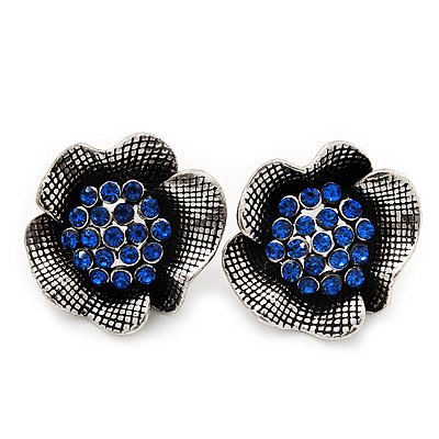 Navy Blue Crystal Textured Flower Stud Earrings In Burn Silver Finish - 2cm Diameter