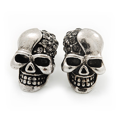 Small Diamante &#039;Skull&#039; Stud Earrings In Burn Silver Finish - 15mm Length