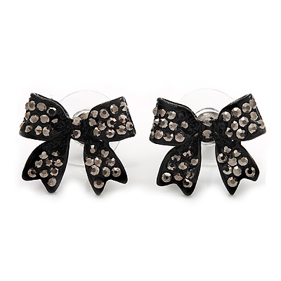 Small Black Diamante 'Bow' Stud Earrings - 15mm Length