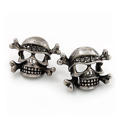 Burn Silver Diamante 'Skull & Crossbones' Stud Earrings - 23mm Length