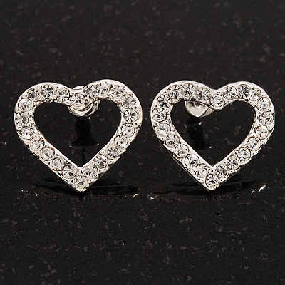 Clear Crystal Open 'Heart' Stud Earrings In Silver Metal - 2cm Length - main view