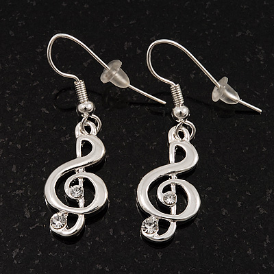 Silver Tone Crystal Treble Clef Drop Earrings - 3.5cm Length